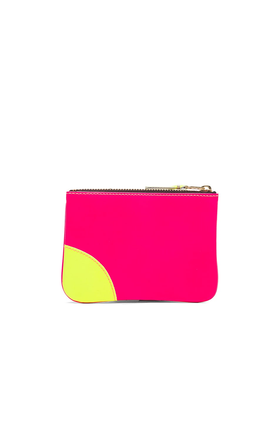 Image 2 of Comme Des Garcons Super Fluo Small Zip Pouch in Orange & Pink