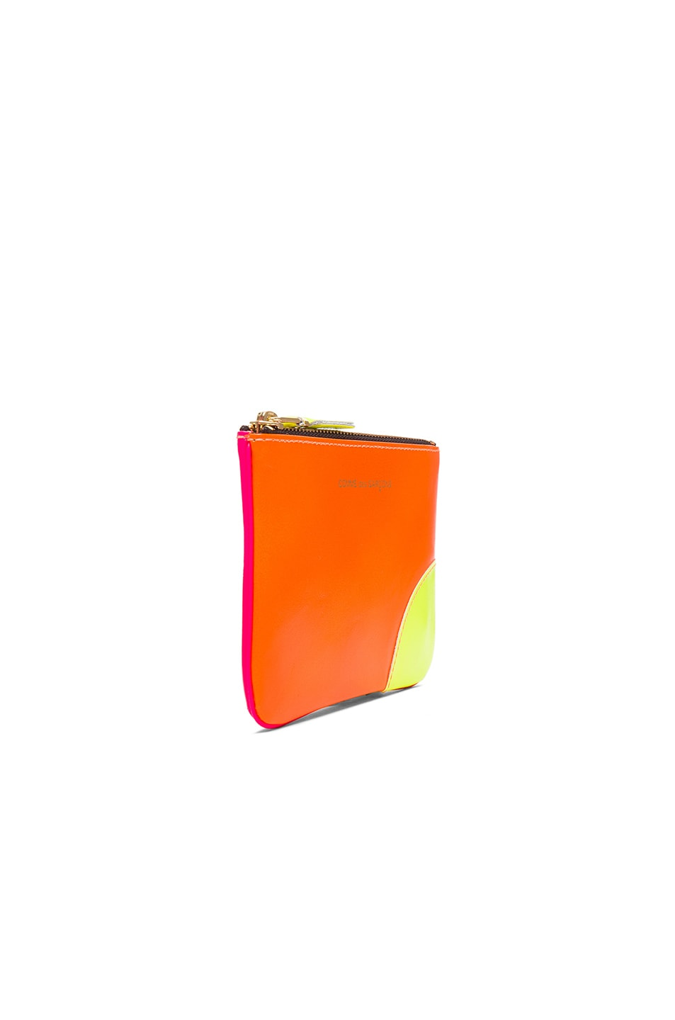 Image 3 of Comme Des Garcons Super Fluo Small Zip Pouch in Orange & Pink