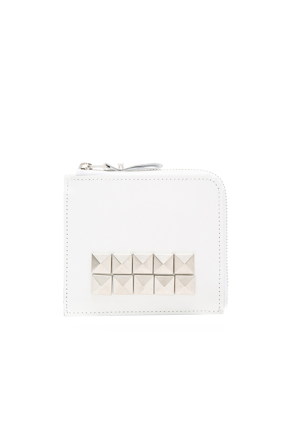 Image 1 of Comme Des Garcons Studded Leather Zip Wallet in White