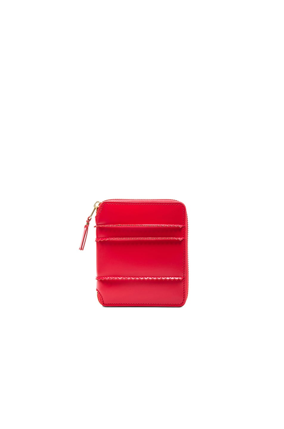 Image 1 of Comme Des Garcons Raised Spike Zip Fold Wallet in Red
