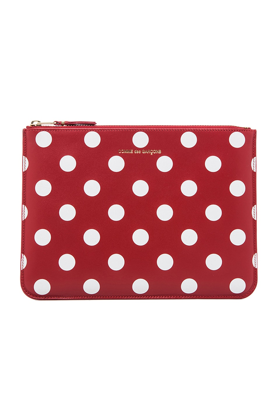 Comme Des Garçons Polka Dot Pouch In Red,geometric Print