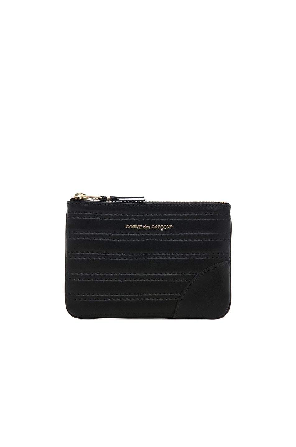 COMME DES GARCONS EMBOSSED STITCH SMALL POUCH IN BLACK