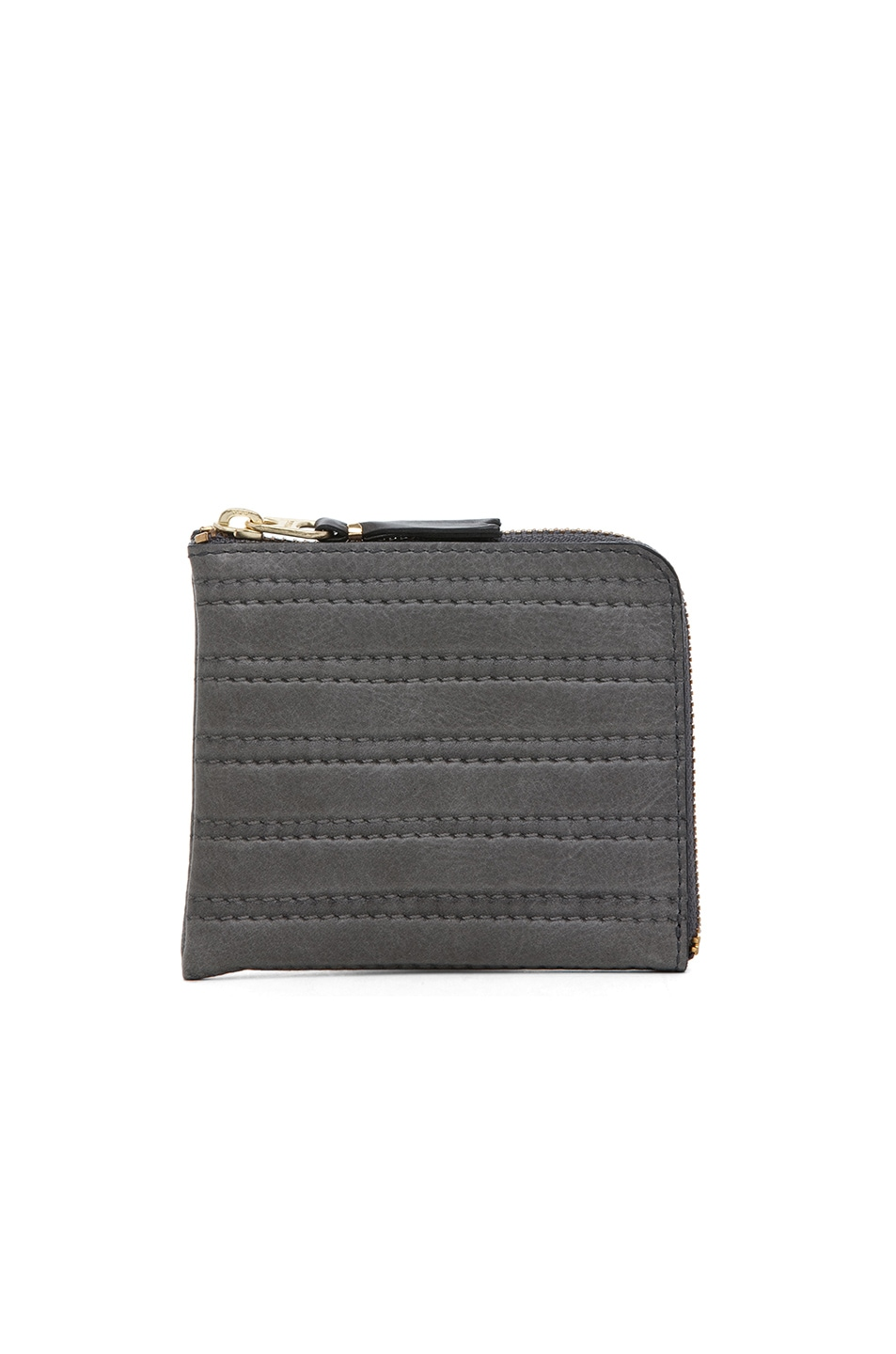 Image 1 of Comme Des Garcons Embossed Stitch Small Zip Wallet in Grey