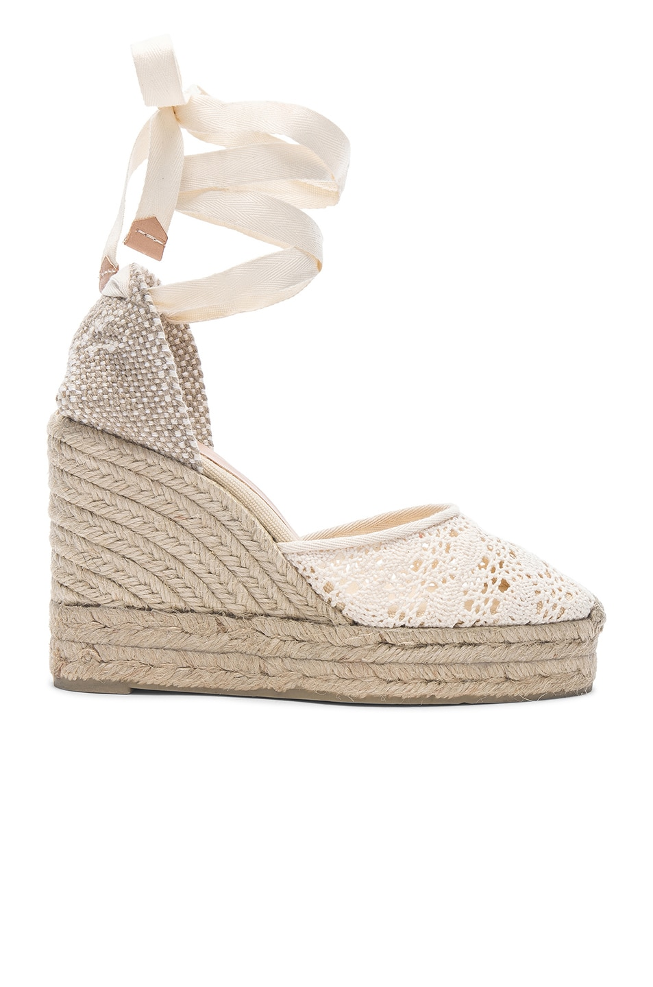 88d8b895614 Image 1 of Castaner Crochet Lace Carina Wedge Espadrilles in Natural