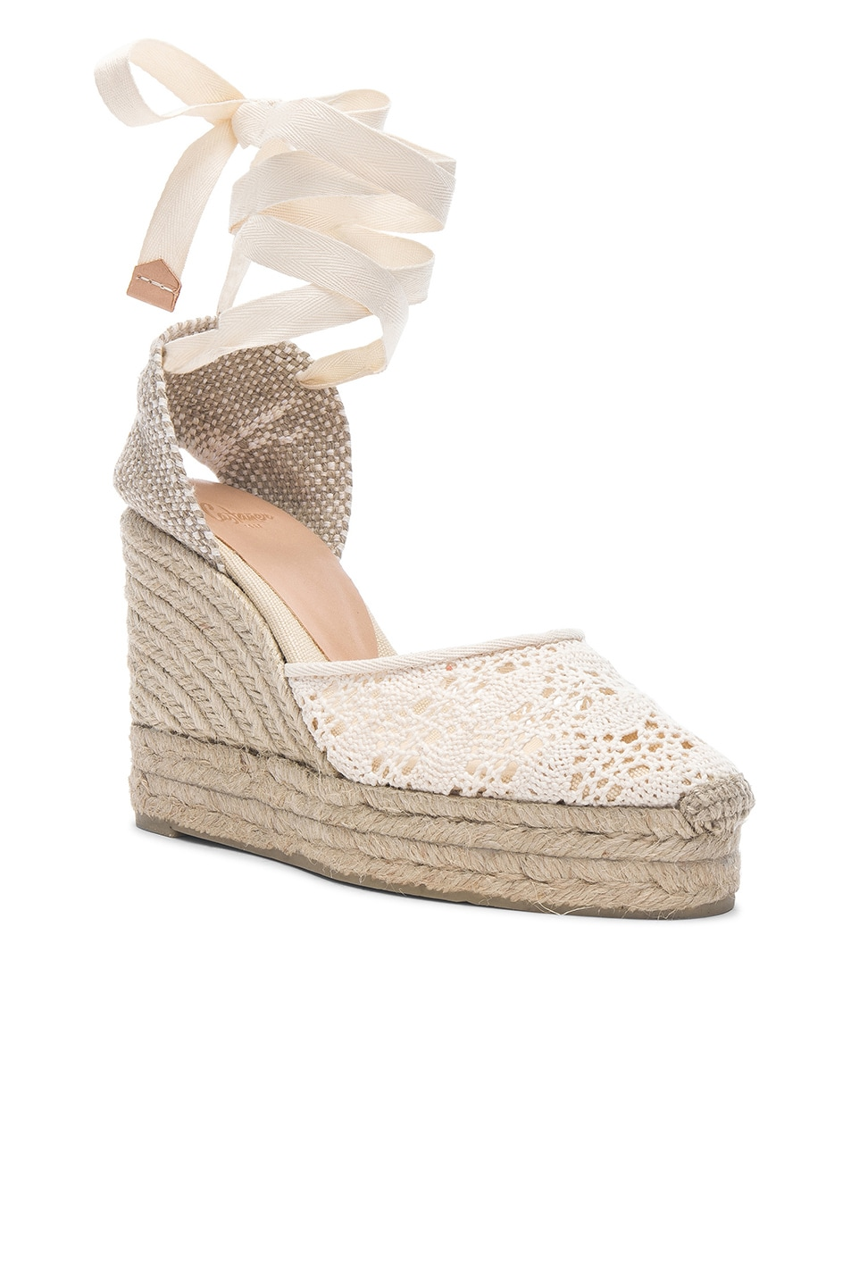 Image 2 of Castaner Crochet Lace Carina Wedge Espadrilles in Natural