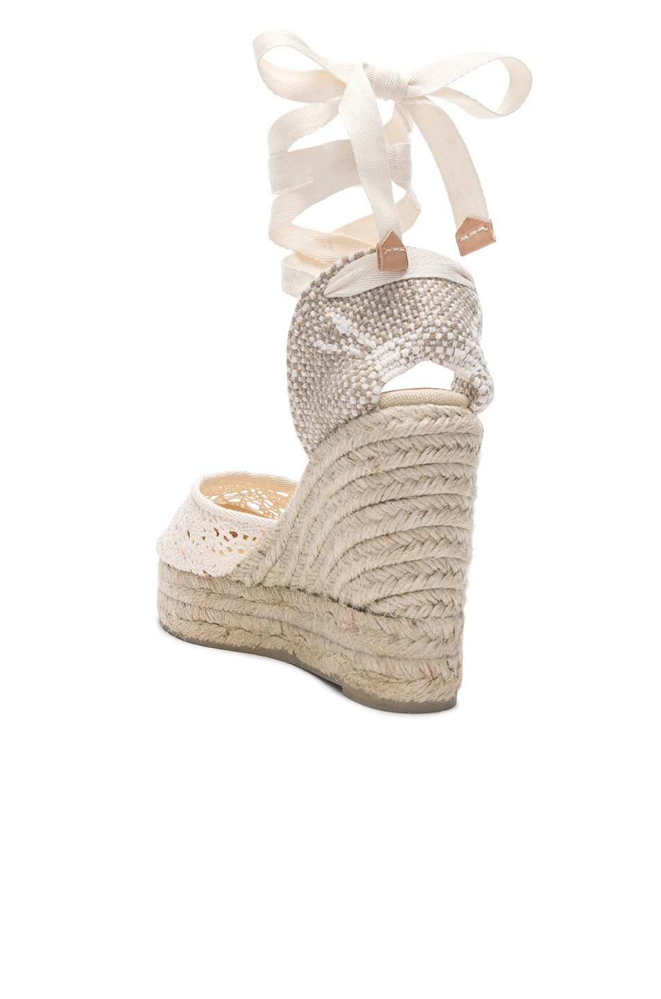 Image 3 of Castaner Crochet Lace Carina Wedge Espadrilles in Natural