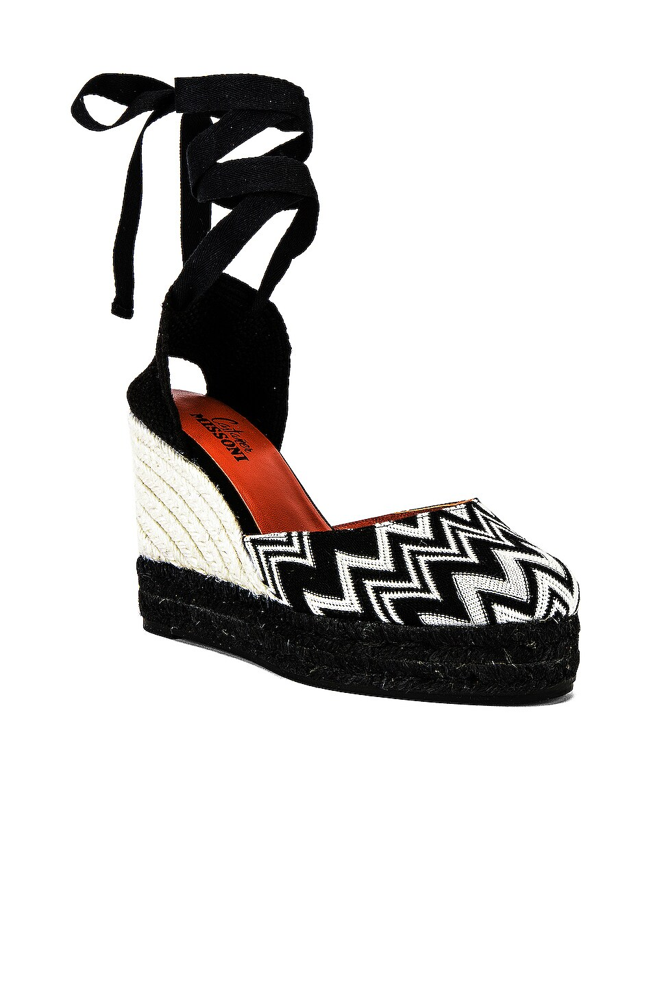 Image 2 of Castaner x MISSONI Carina Wedge Espadrille in Black & White
