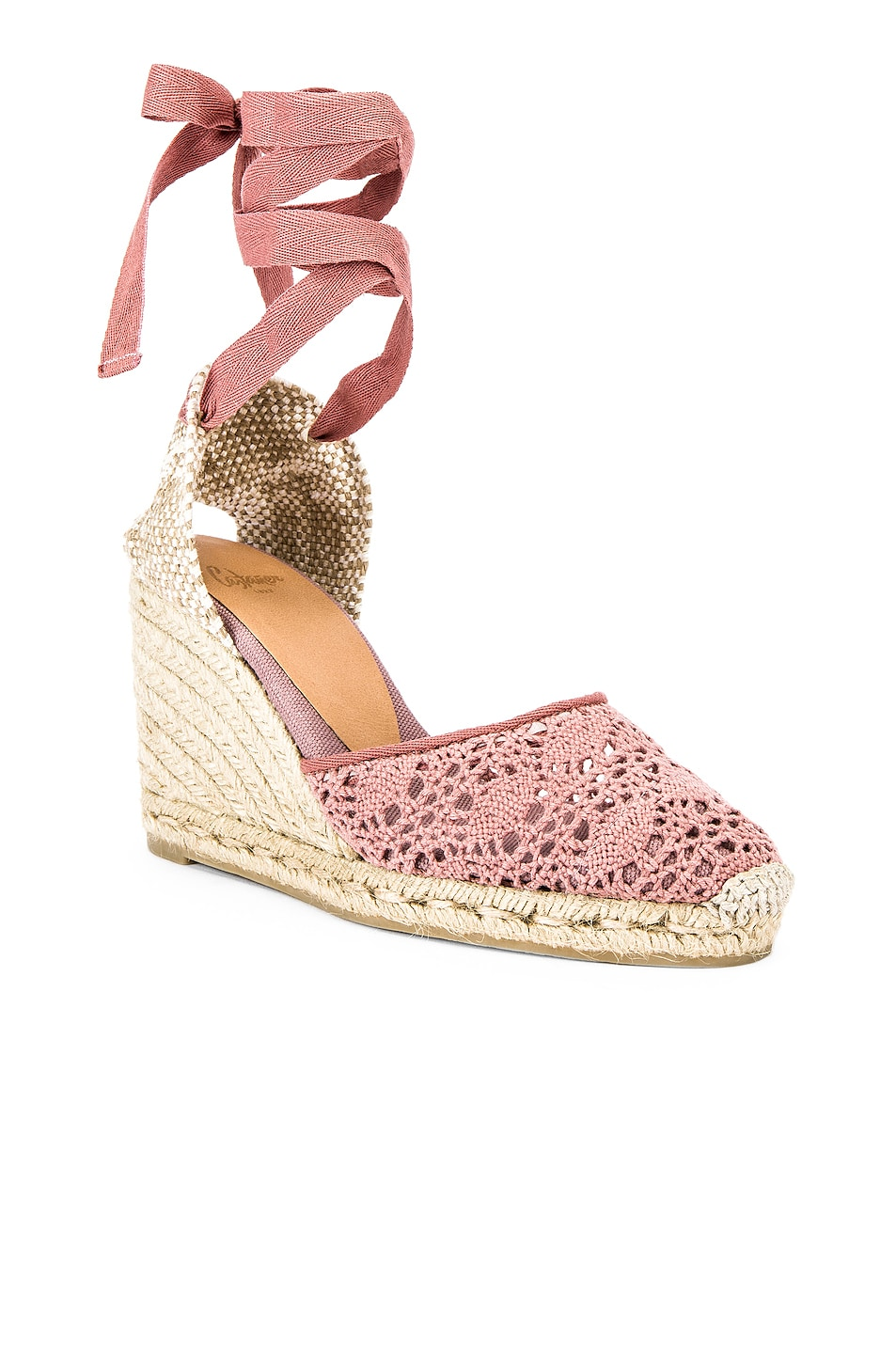 Image 2 of Castaner Carina Crochet Espadrille in Malva & Natural