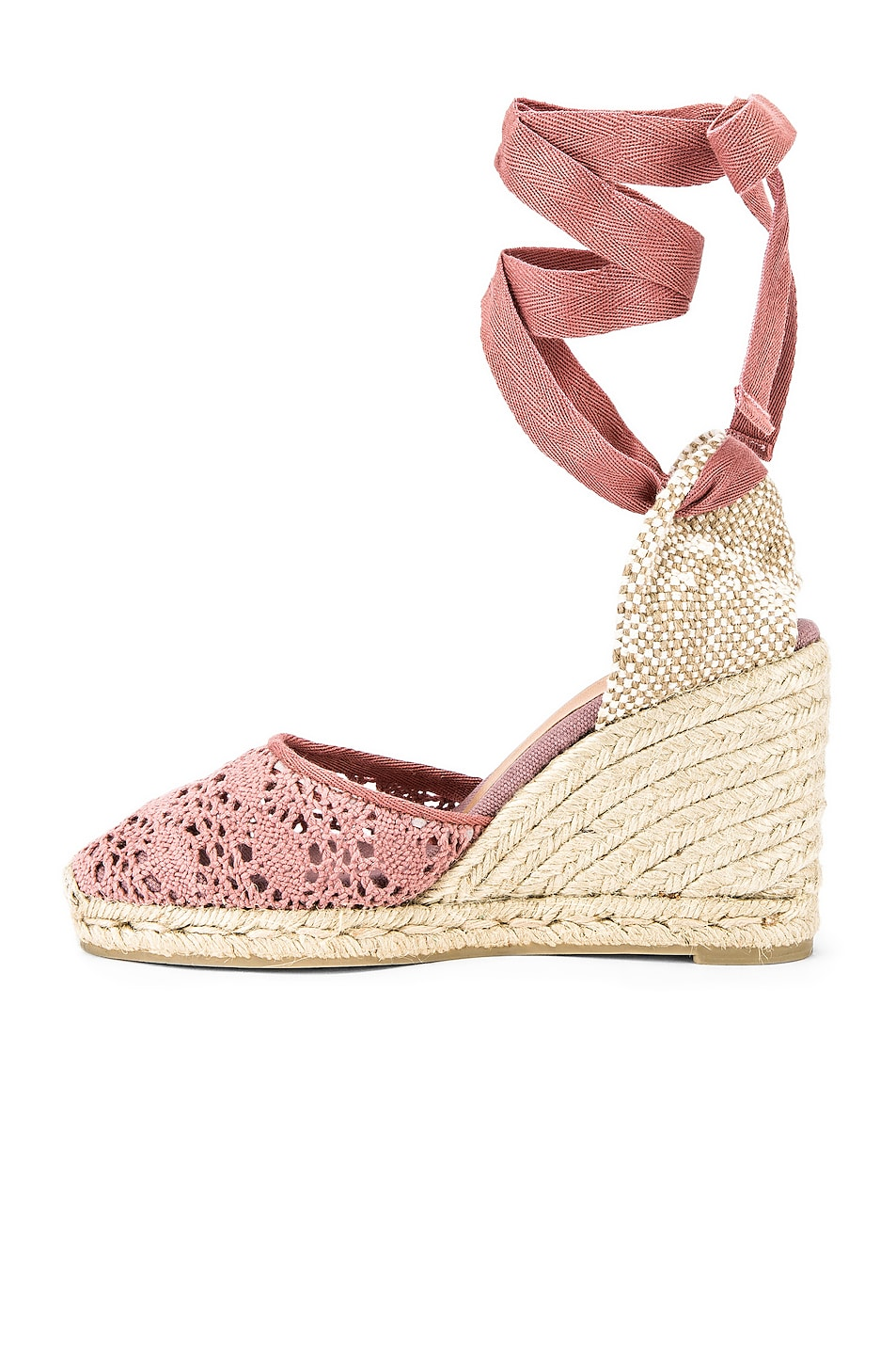 Image 5 of Castaner Carina Crochet Espadrille in Malva & Natural