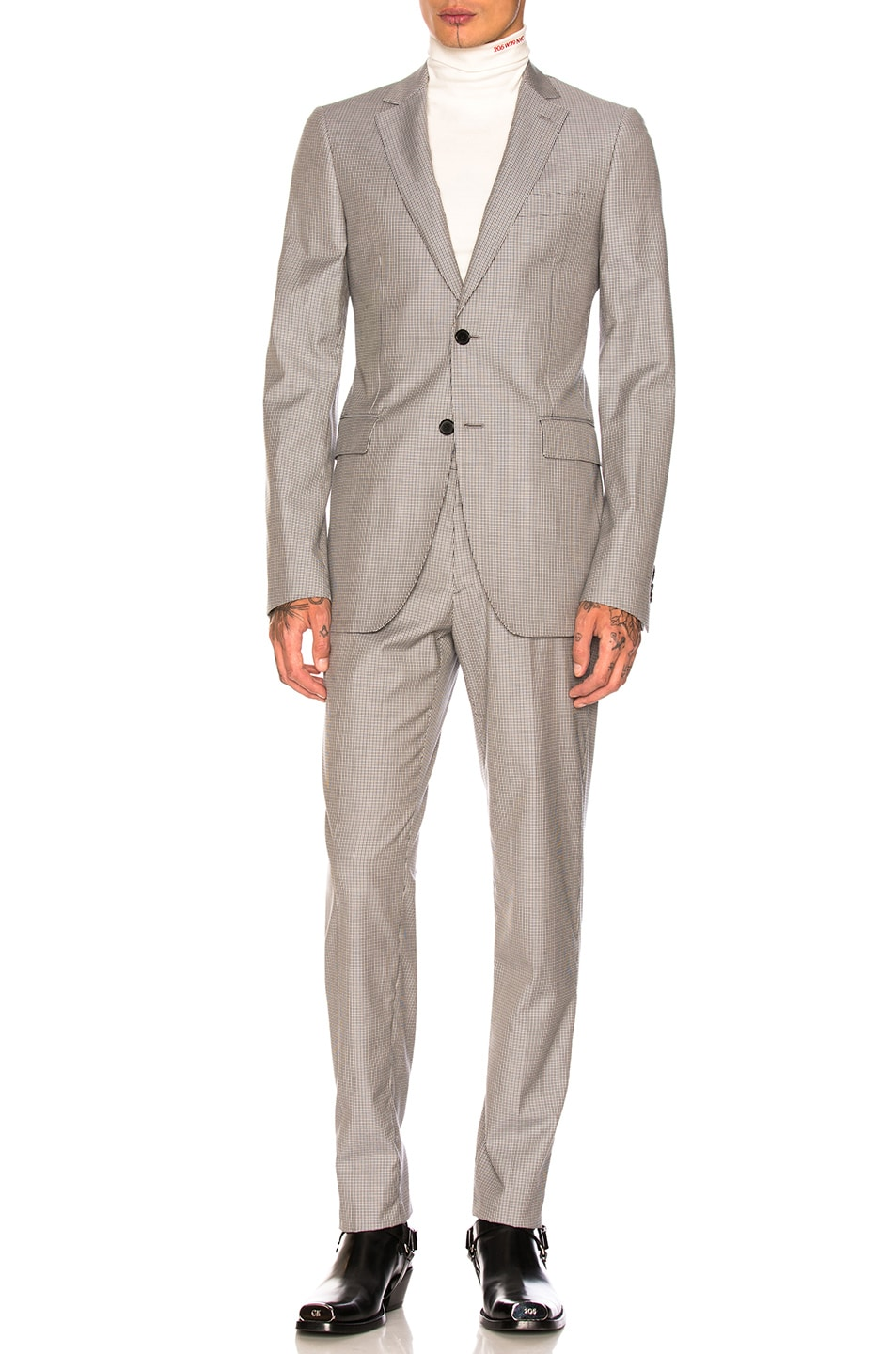 Image 1 of CALVIN KLEIN 205W39NYC Two-Button Suit in Black Ivory Chamois
