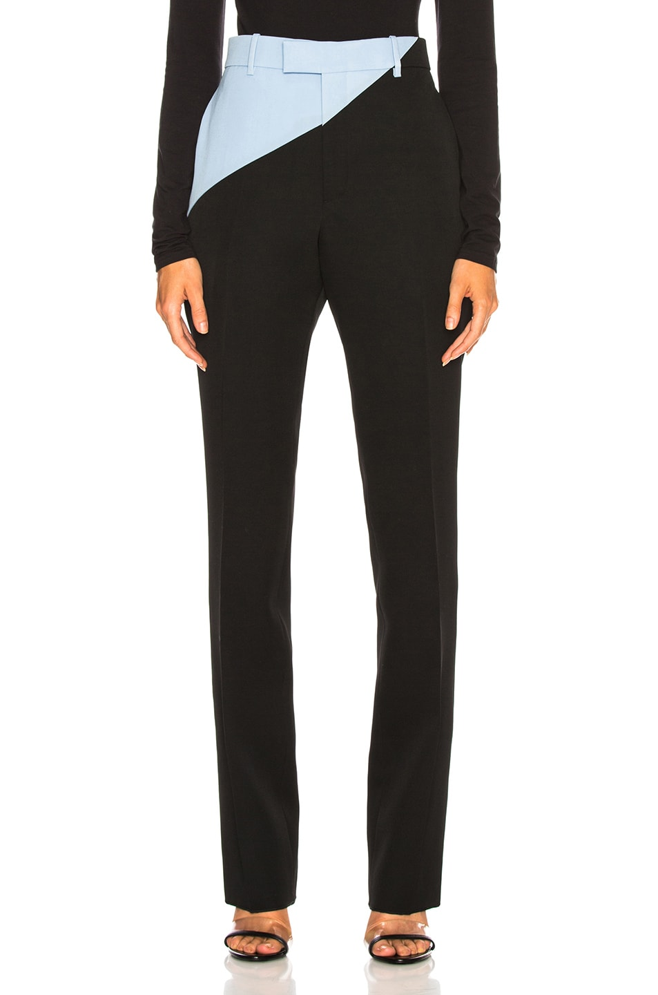 Image 1 of CALVIN KLEIN 205W39NYC Asymmetric Trousers in Black & Shadow Blue