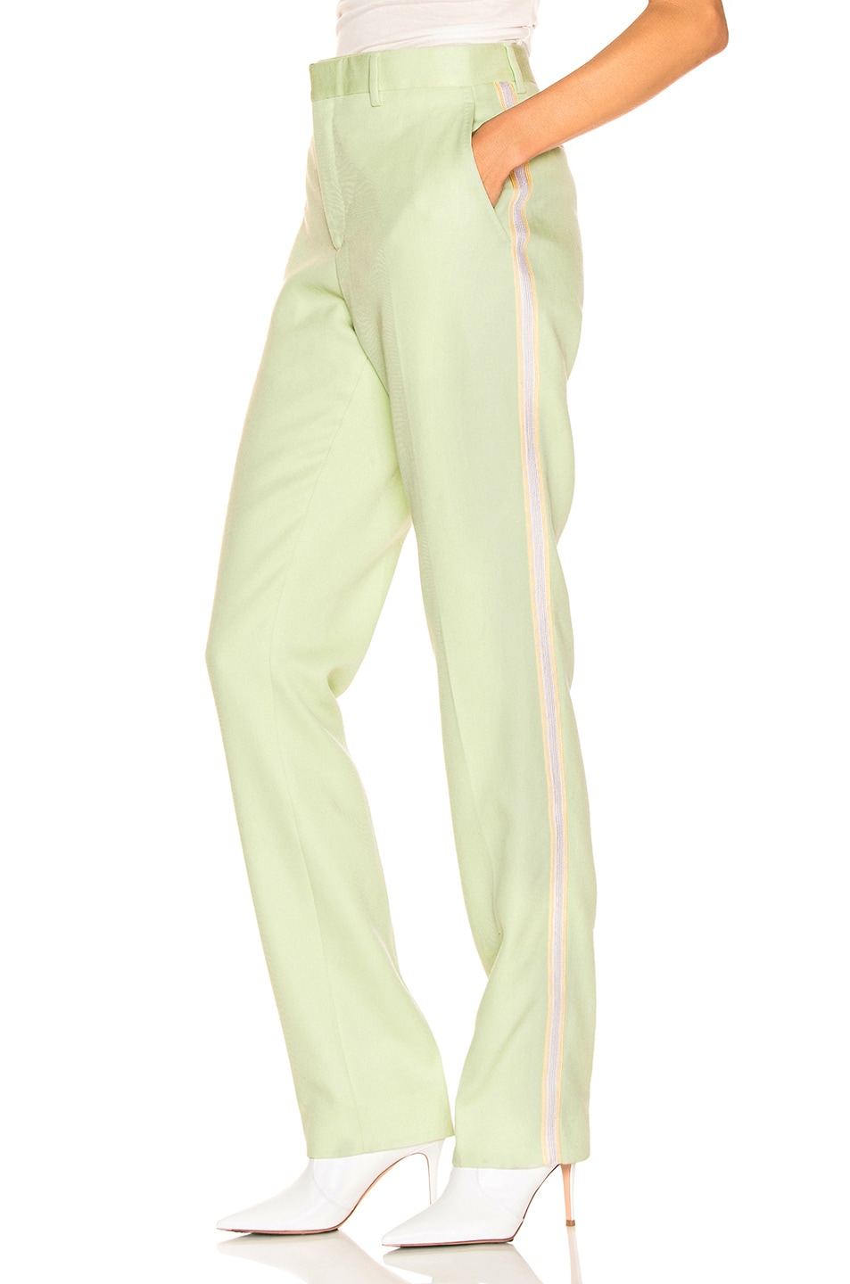 Image 1 of CALVIN KLEIN 205W39NYC Wool Twill Uniform Pant in Arcadian Green & Burgundy & Ecru