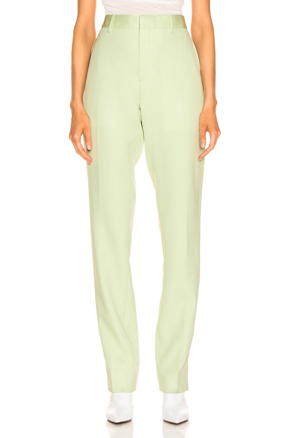 Image 2 of CALVIN KLEIN 205W39NYC Wool Twill Uniform Pant in Arcadian Green & Burgundy & Ecru