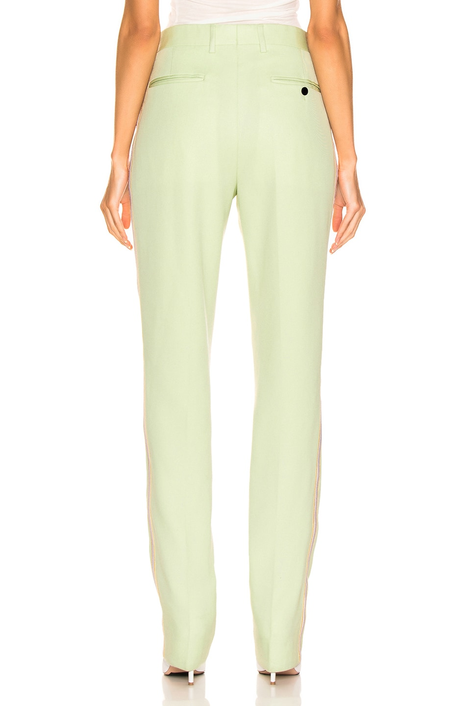 Image 4 of CALVIN KLEIN 205W39NYC Wool Twill Uniform Pant in Arcadian Green & Burgundy & Ecru