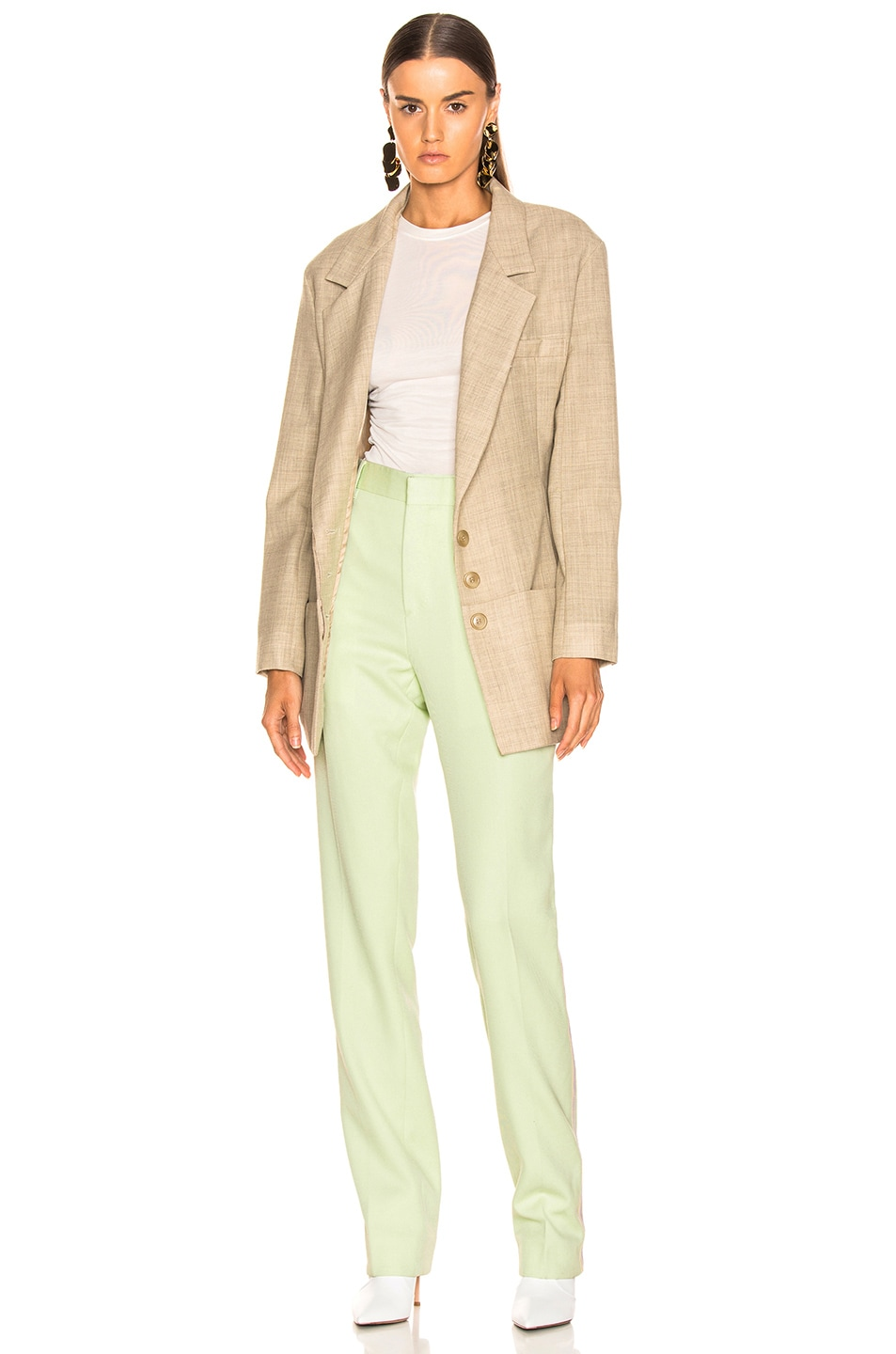 Image 5 of CALVIN KLEIN 205W39NYC Wool Twill Uniform Pant in Arcadian Green & Burgundy & Ecru