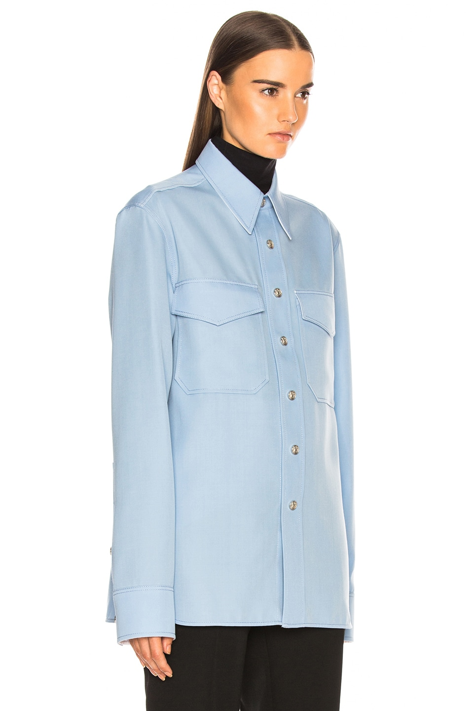 Image 2 of CALVIN KLEIN 205W39NYC Button Down Shirt in Shadow Blue