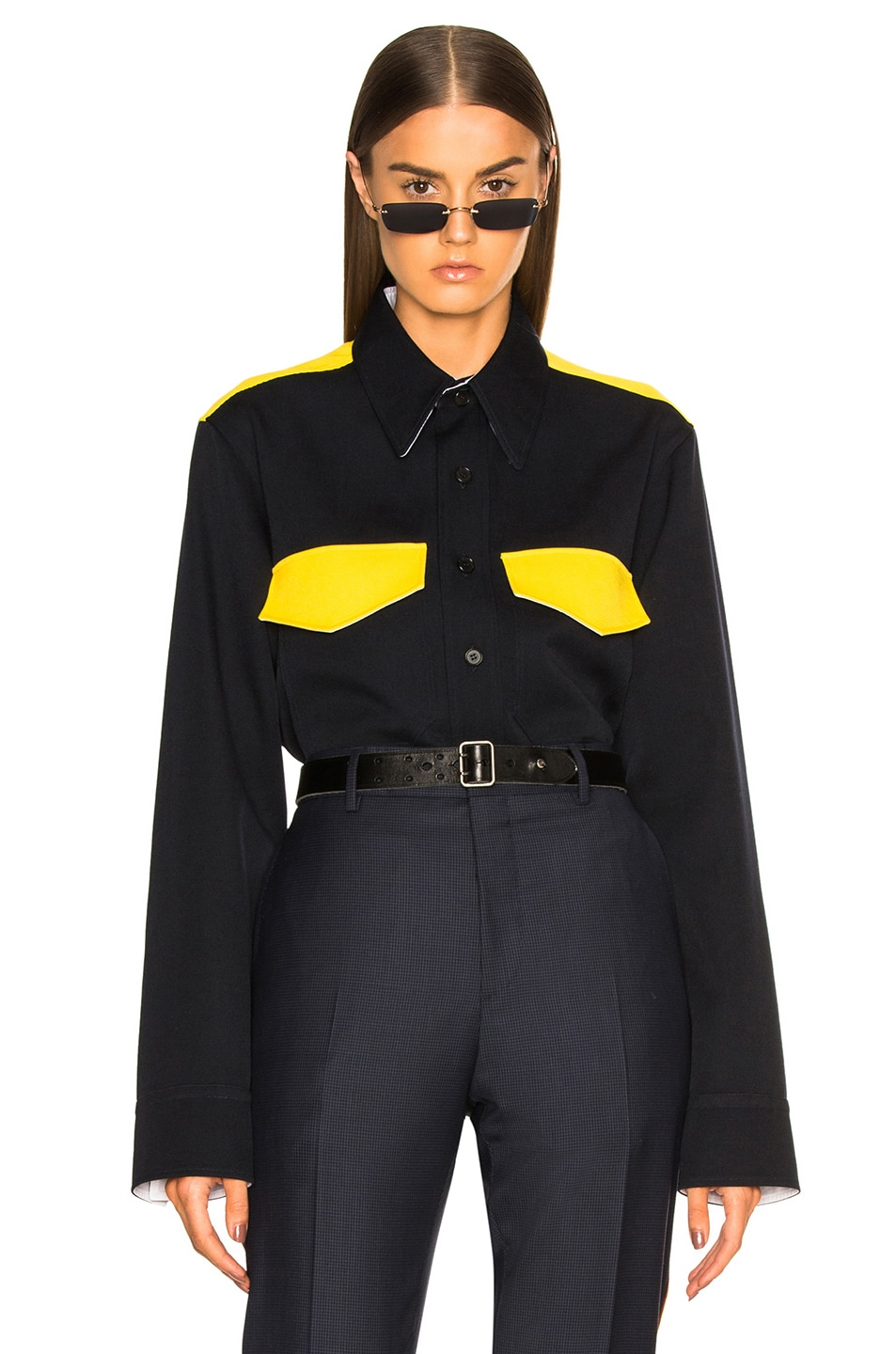 Image 1 of CALVIN KLEIN 205W39NYC Long Sleeve Shirt in Dark Navy & Yellow