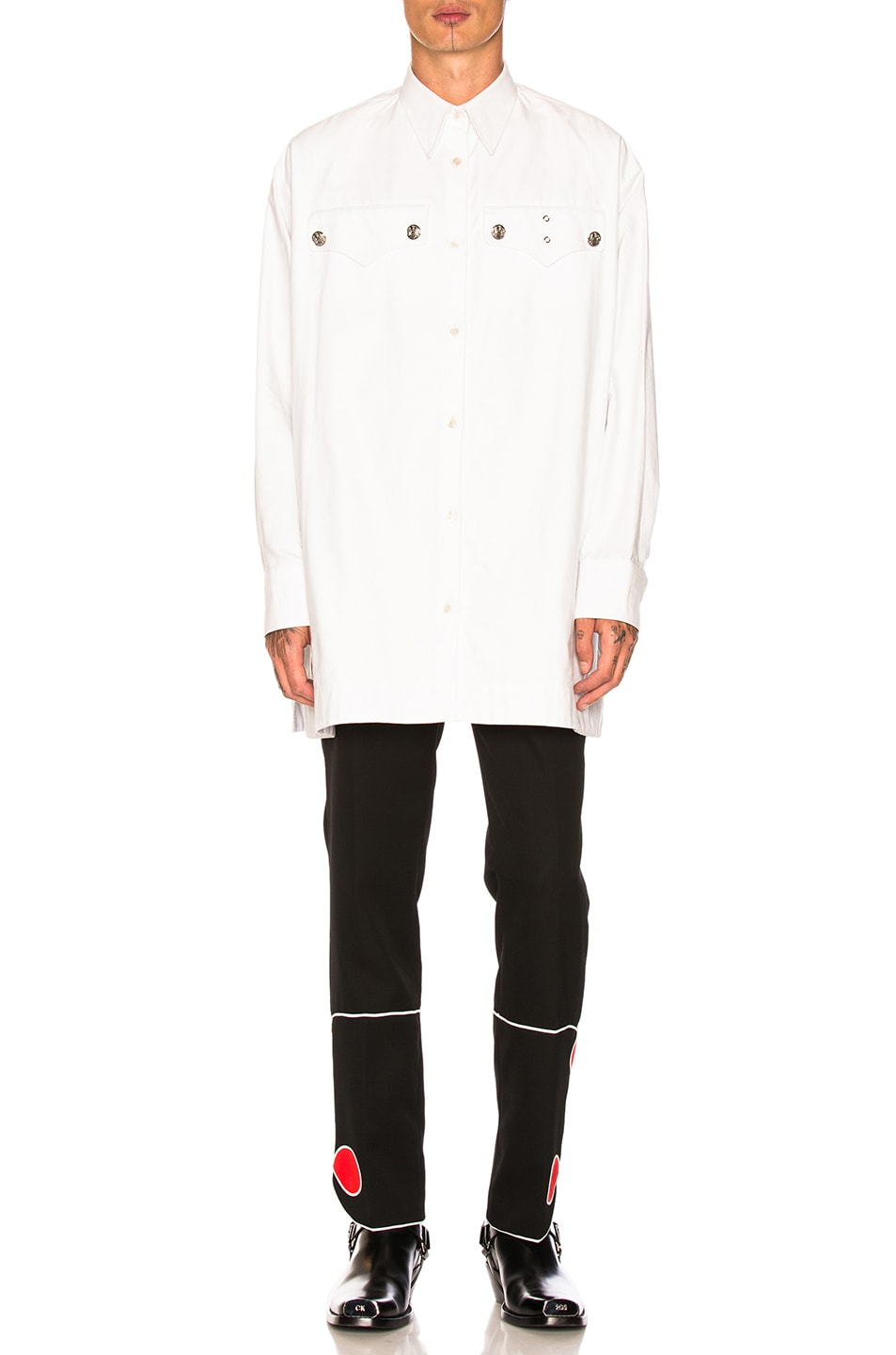 Image 1 of CALVIN KLEIN 205W39NYC Oversized Western Shirt in White