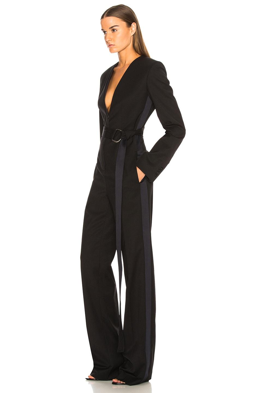 Image 3 of CALVIN KLEIN 205W39NYC Belted Jumpsuit in Black & Dark Navy