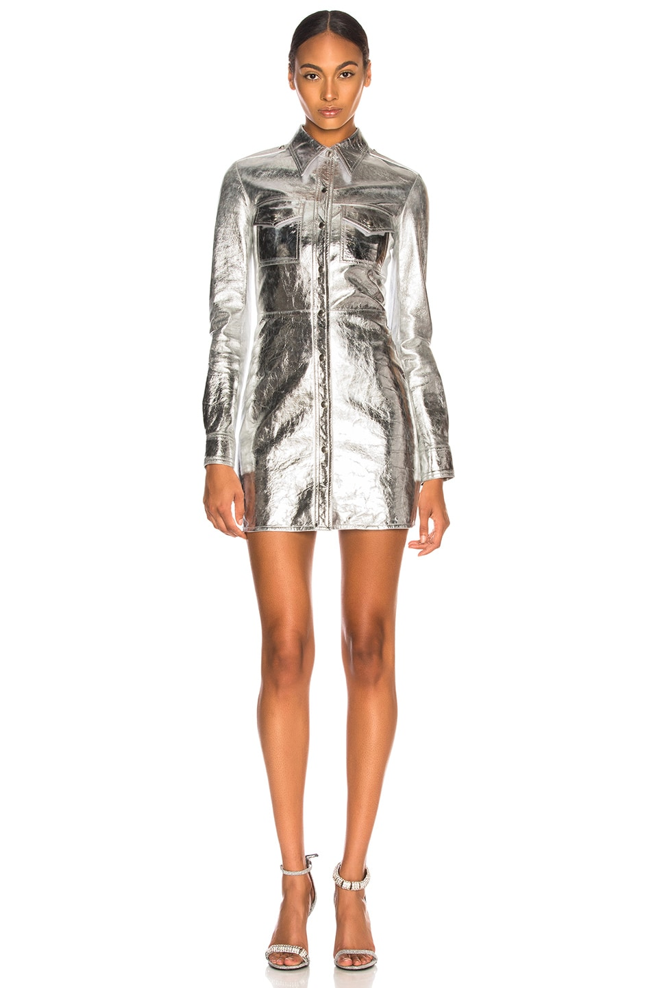 Image 1 of CALVIN KLEIN 205W39NYC Metallic Leather Western Shirt Dress in Silver