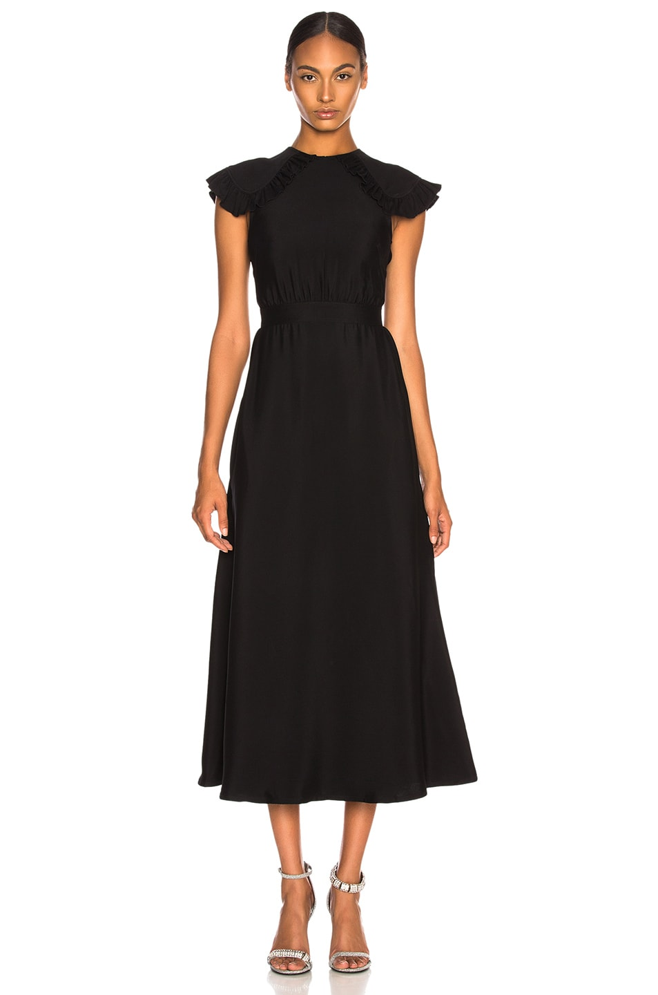 Image 1 of CALVIN KLEIN 205W39NYC Viscose Cady Cap Sleeve Dress in Black