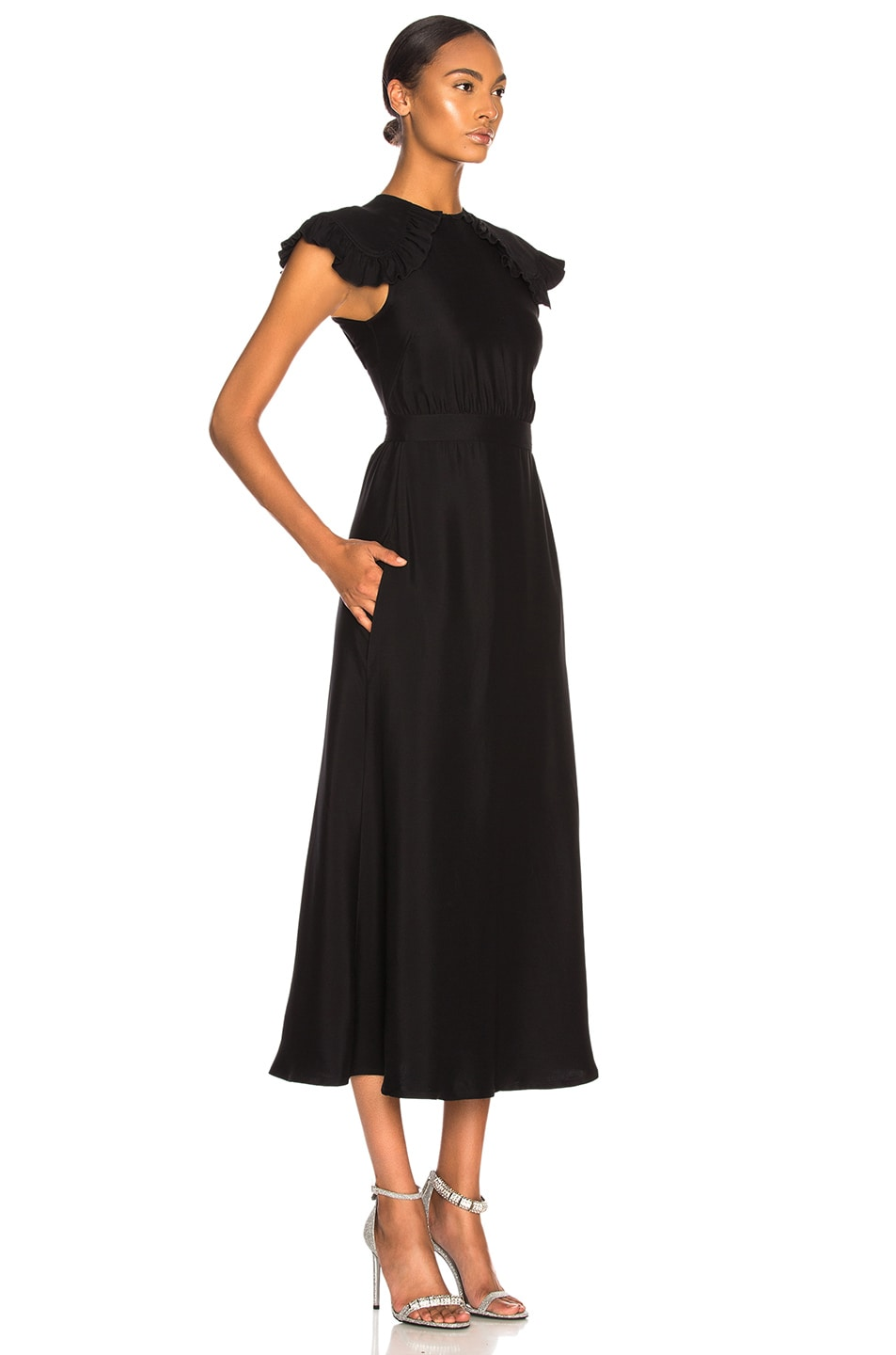 Image 2 of CALVIN KLEIN 205W39NYC Viscose Cady Cap Sleeve Dress in Black