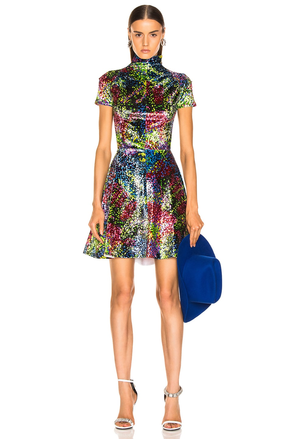 Image 1 of CALVIN KLEIN 205W39NYC Print Dress in Black Rainbow