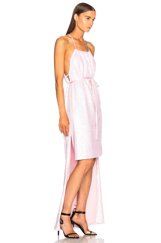 Image 2 of CALVIN KLEIN 205W39NYC Sequin Hi-Low Hem Dress in Rose