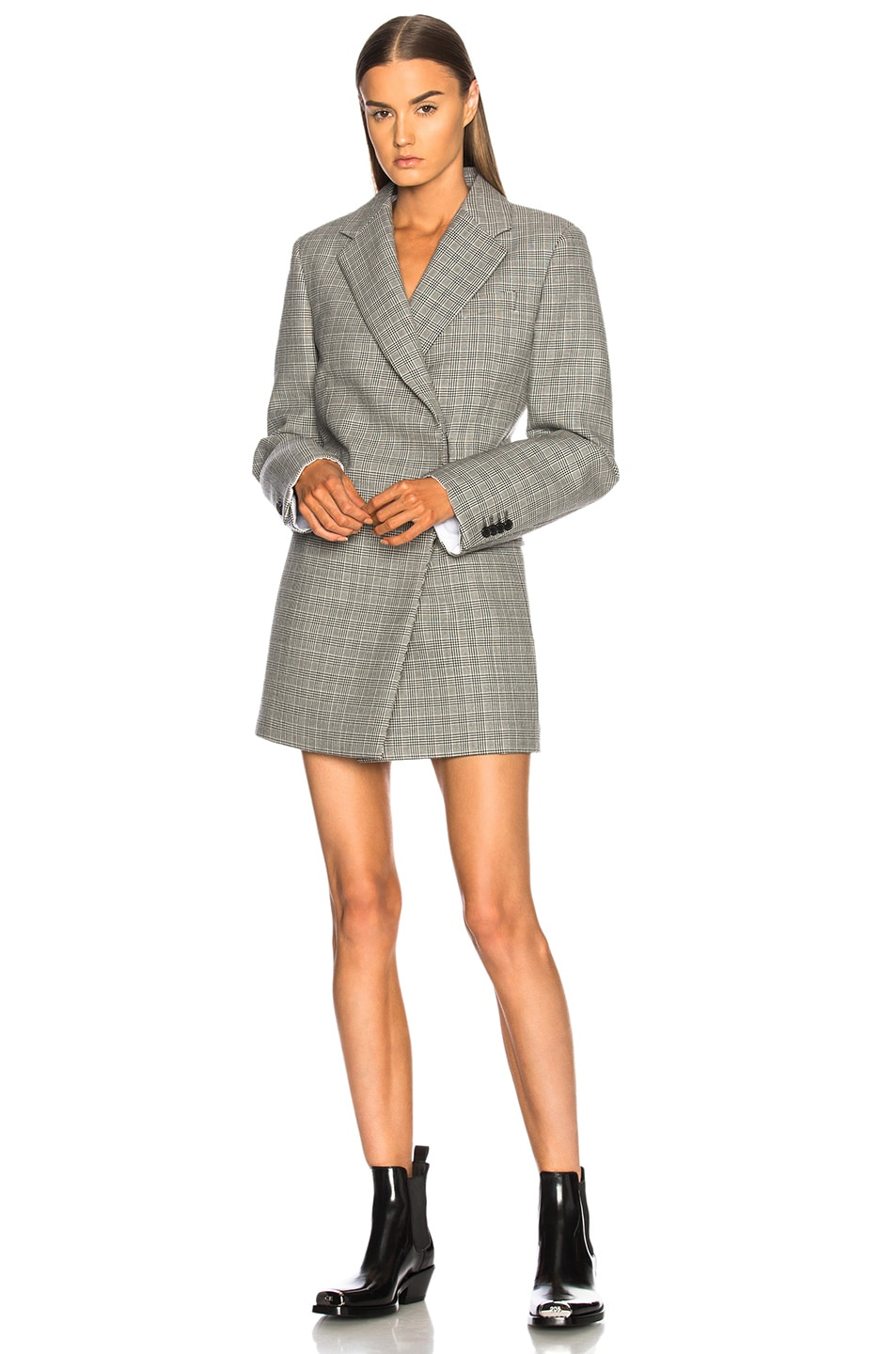 Image 1 of CALVIN KLEIN 205W39NYC Double Face Glen Plaid High Twisted Wool Blazer Dress in Black & White