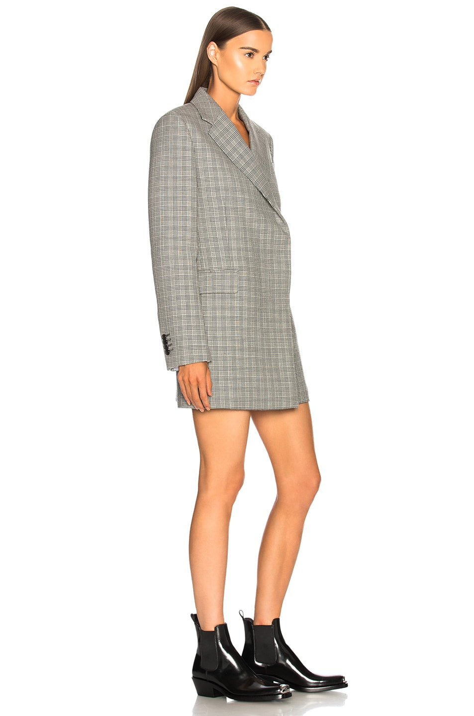 Image 2 of CALVIN KLEIN 205W39NYC Double Face Glen Plaid High Twisted Wool Blazer Dress in Black & White