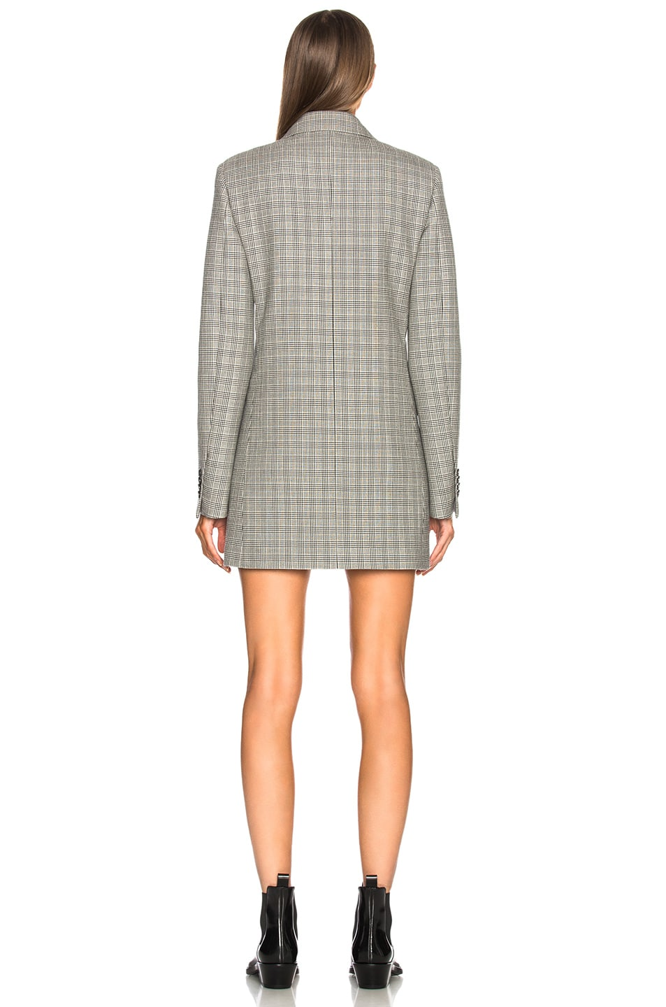 Image 3 of CALVIN KLEIN 205W39NYC Double Face Glen Plaid High Twisted Wool Blazer Dress in Black & White