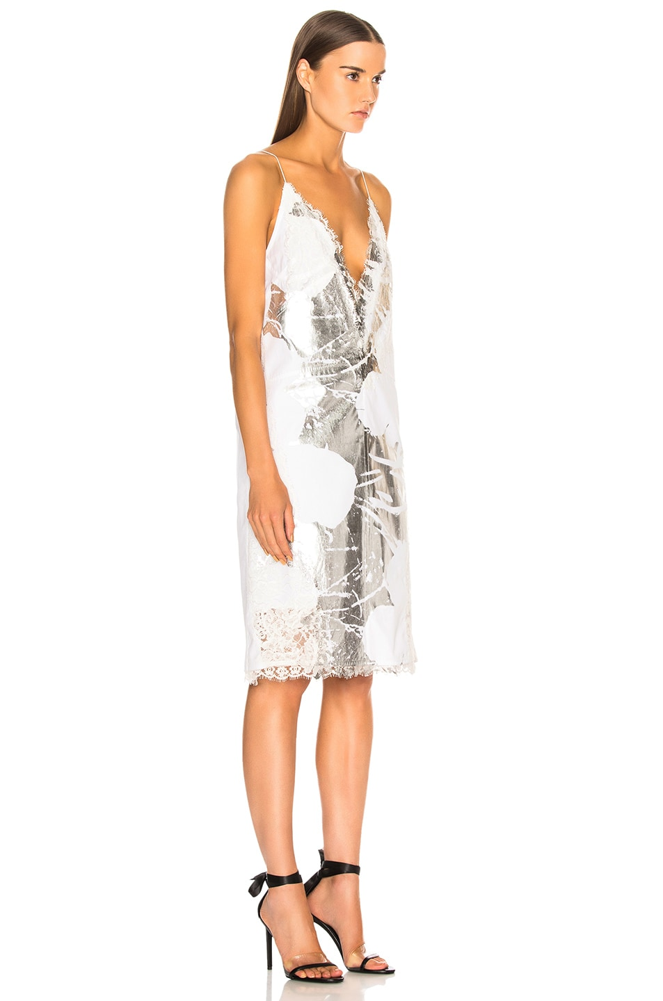 Image 2 of CALVIN KLEIN 205W39NYC Flower Print Slip Dress in Optic White & Silver