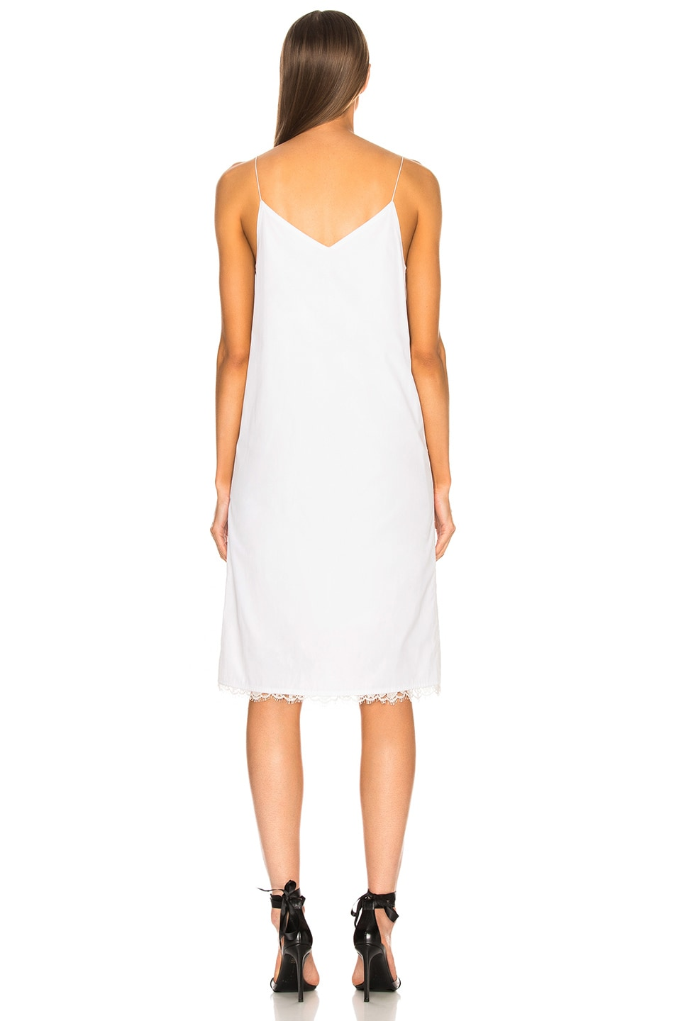 Image 3 of CALVIN KLEIN 205W39NYC Flower Print Slip Dress in Optic White & Silver