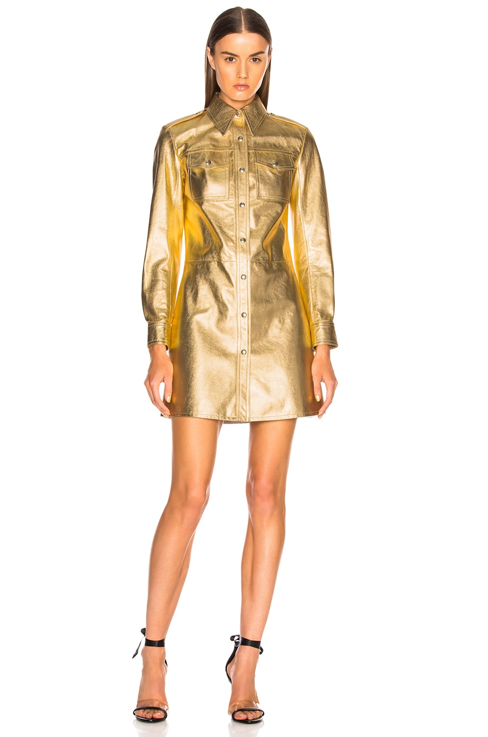 Image 1 of CALVIN KLEIN 205W39NYC Metallic Leather Western Shirt Dress in Gold