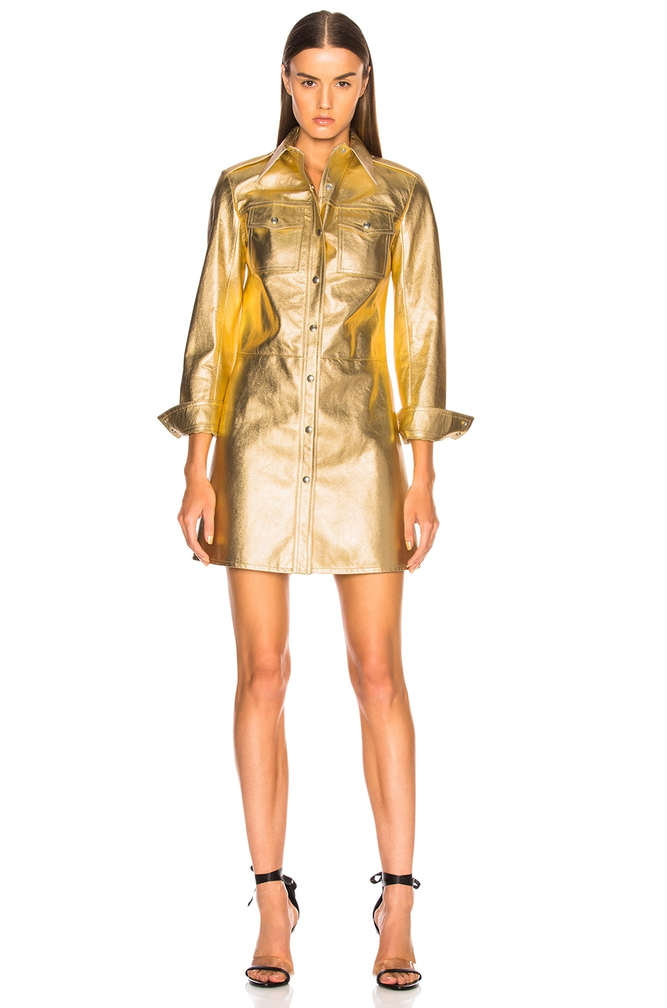 Image 2 of CALVIN KLEIN 205W39NYC Metallic Leather Western Shirt Dress in Gold