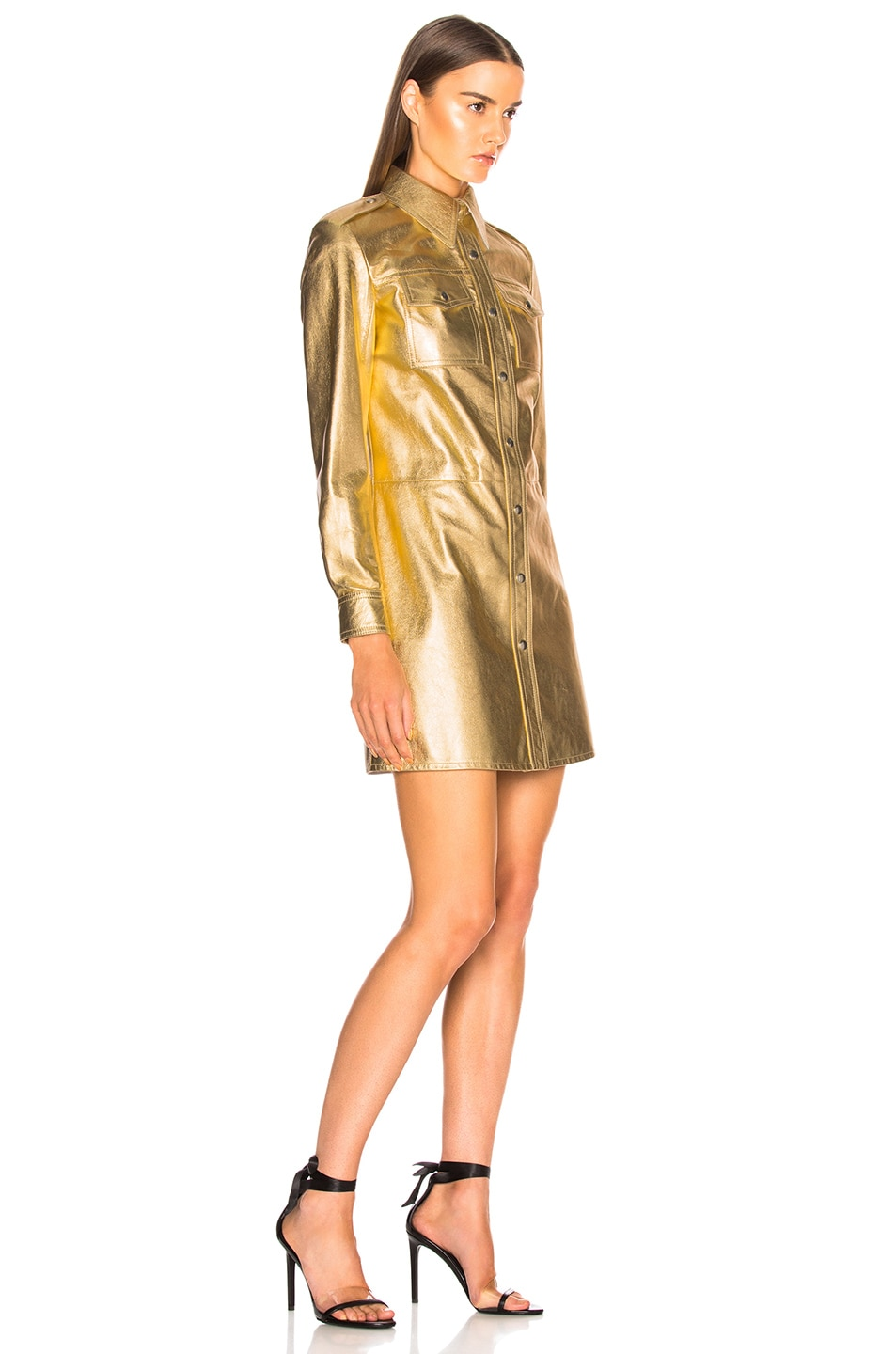 Image 3 of CALVIN KLEIN 205W39NYC Metallic Leather Western Shirt Dress in Gold