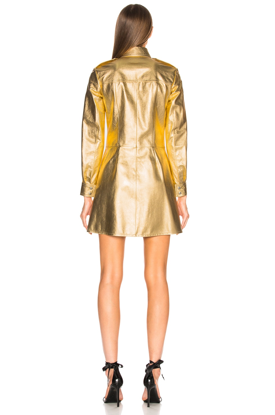 Image 4 of CALVIN KLEIN 205W39NYC Metallic Leather Western Shirt Dress in Gold