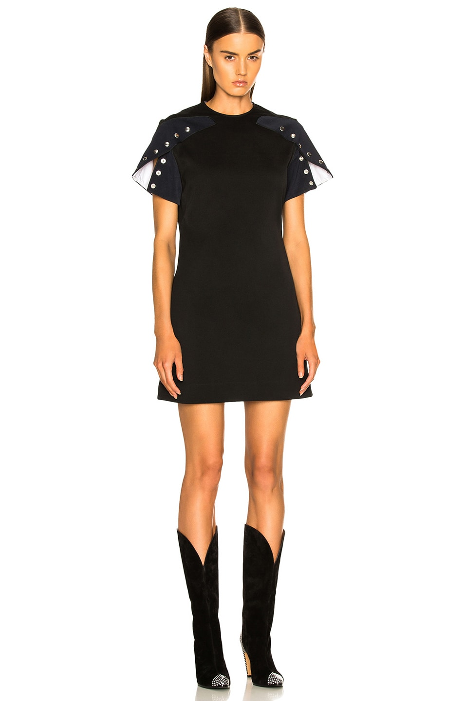 Image 1 of CALVIN KLEIN 205W39NYC Snap Cape Sleeve Mini Dress in Black & Navy