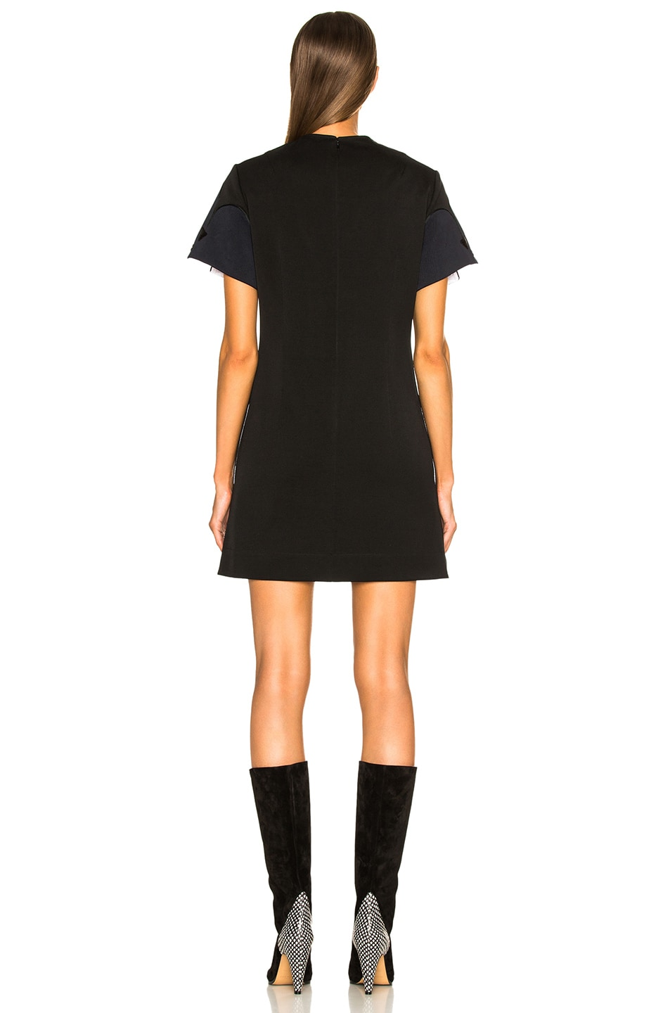 Image 3 of CALVIN KLEIN 205W39NYC Snap Cape Sleeve Mini Dress in Black & Navy