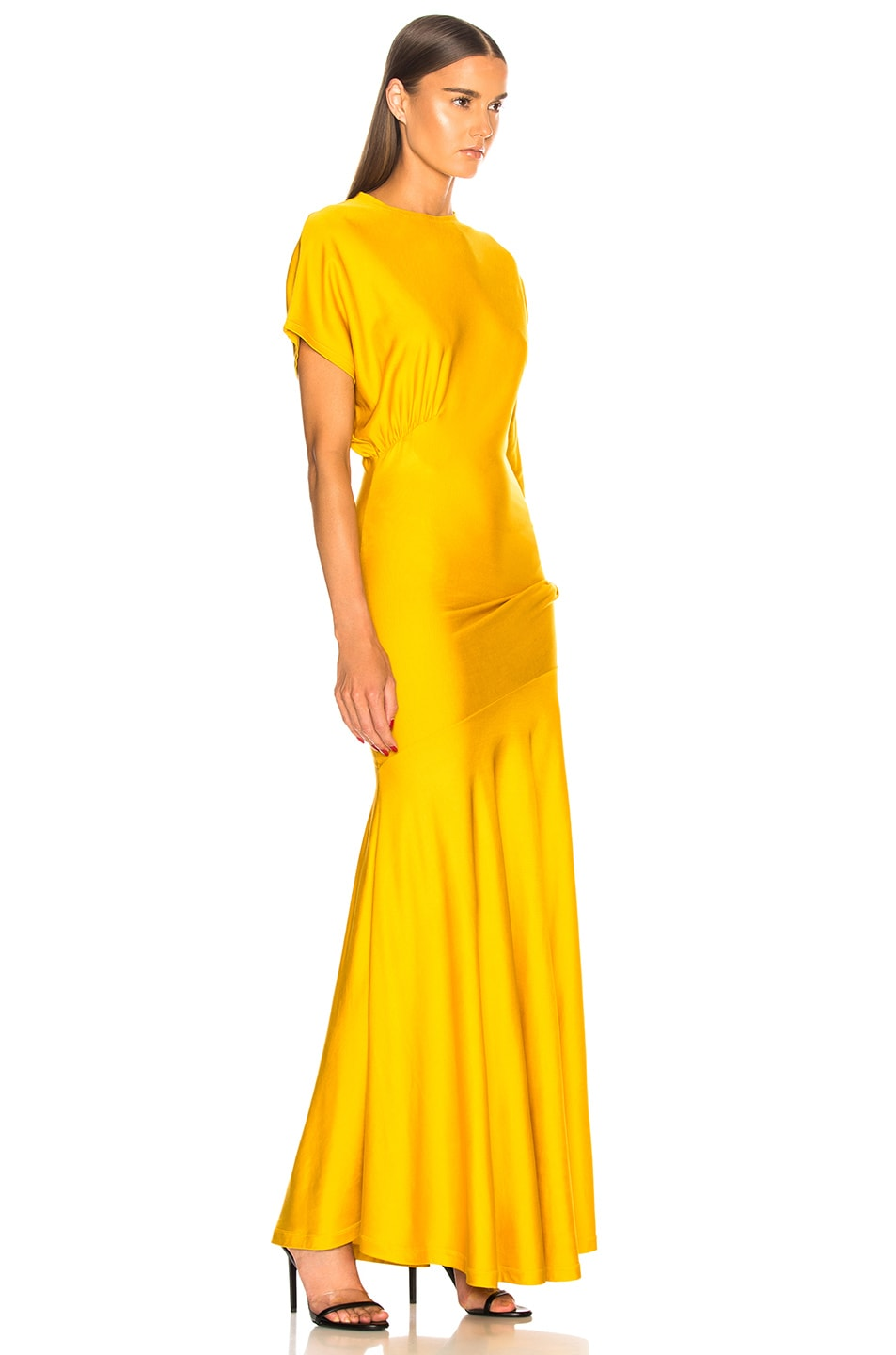 Image 2 of CALVIN KLEIN 205W39NYC Draped Asymmetric Sleeve Maxi Dress in Yellow