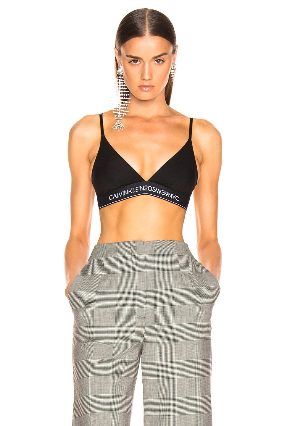 Image 1 of CALVIN KLEIN 205W39NYC Unlined Triangle Bra in Black