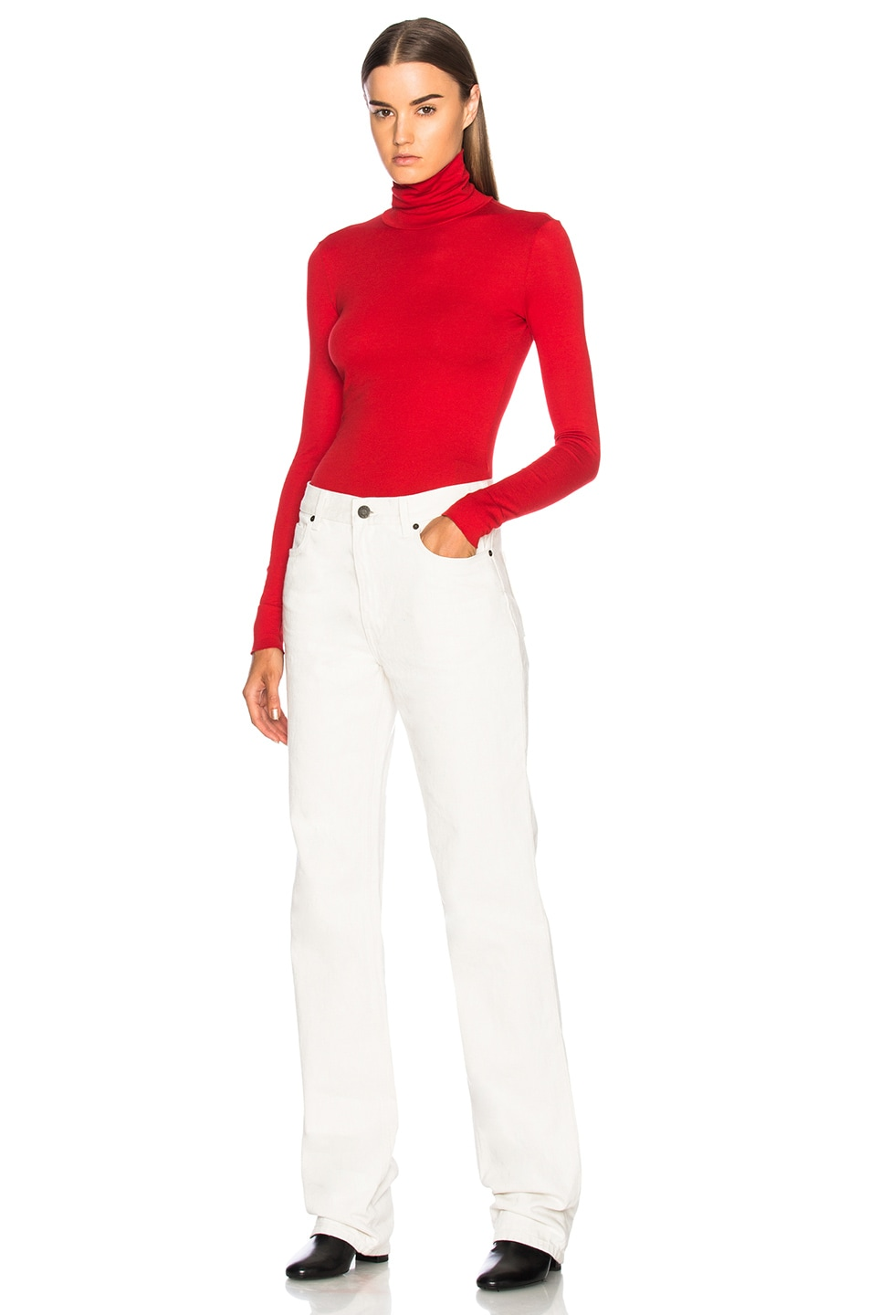 Image 4 of CALVIN KLEIN 205W39NYC High Rise Straight Jeans in White
