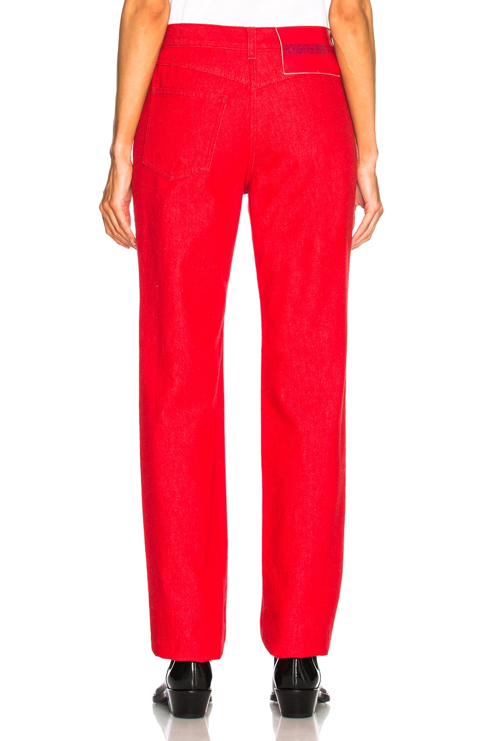 Image 3 of CALVIN KLEIN 205W39NYC High Rise Straight Jeans in Red
