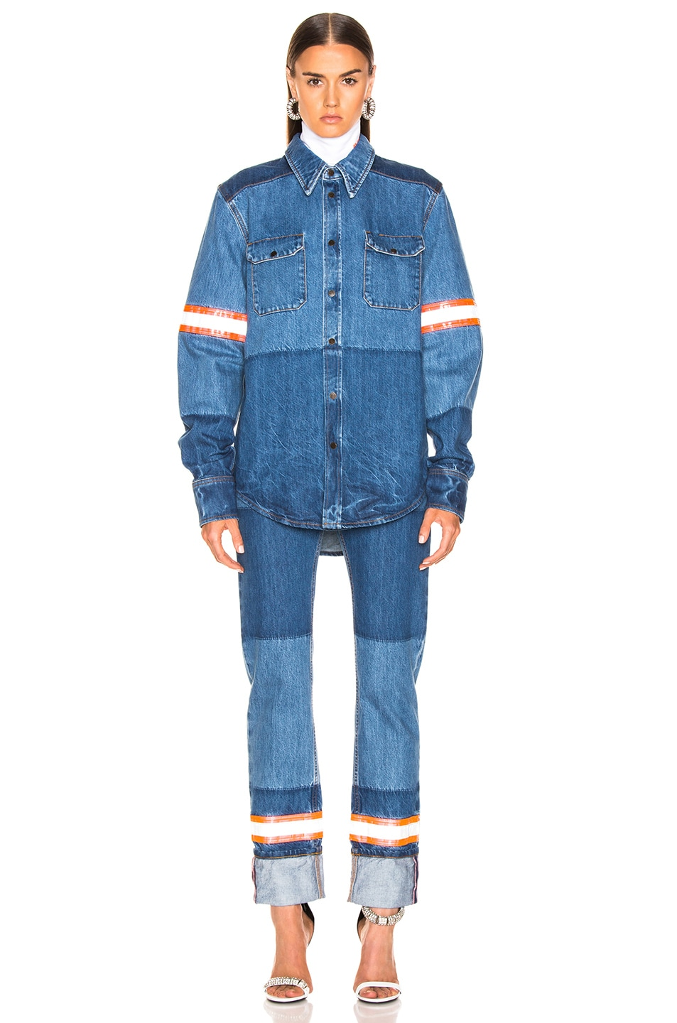 Image 4 of CALVIN KLEIN 205W39NYC Mixed Jean in Blue