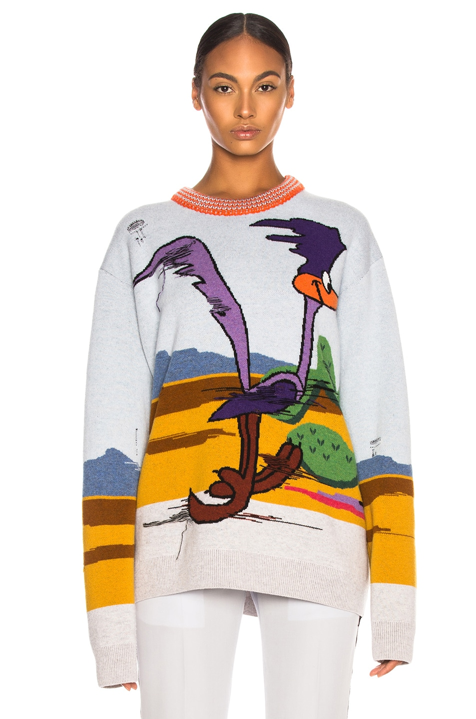 Image 1 of CALVIN KLEIN 205W39NYC Jacquard Looney Tunes Crewneck Sweater in Cerulean Multicolor