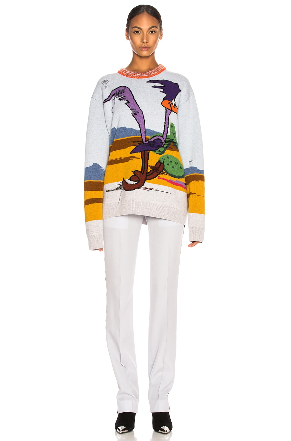 Image 4 of CALVIN KLEIN 205W39NYC Jacquard Looney Tunes Crewneck Sweater in Cerulean Multicolor