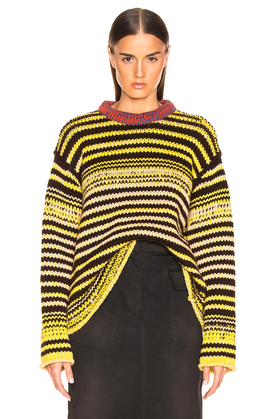 Image 1 of CALVIN KLEIN 205W39NYC Striped Wool Crewneck Sweater in Brown, Yellow & Pink