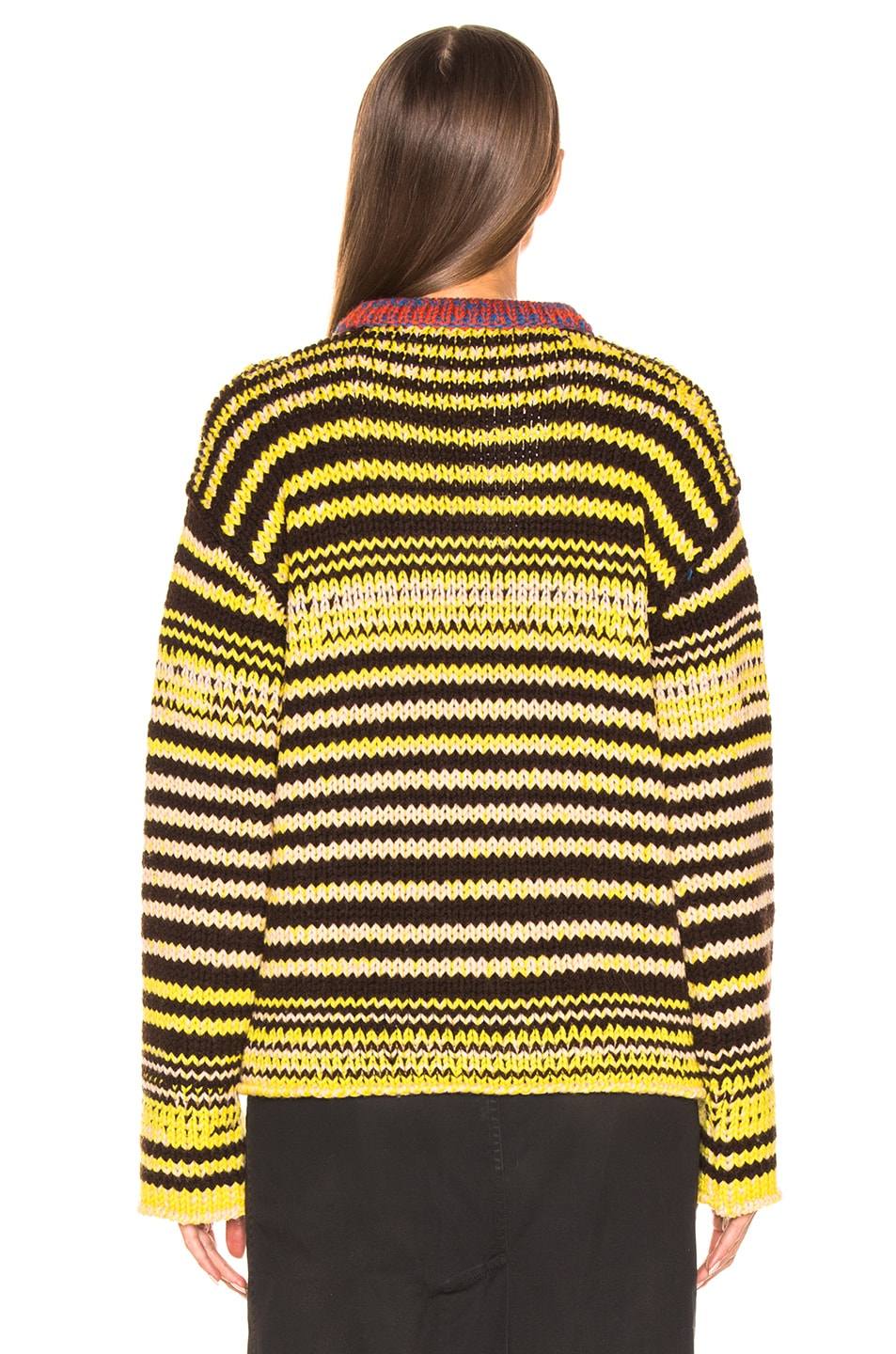 Image 3 of CALVIN KLEIN 205W39NYC Striped Wool Crewneck Sweater in Brown, Yellow & Pink