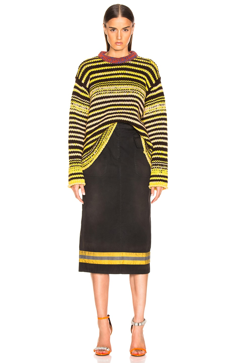 Image 4 of CALVIN KLEIN 205W39NYC Striped Wool Crewneck Sweater in Brown, Yellow & Pink