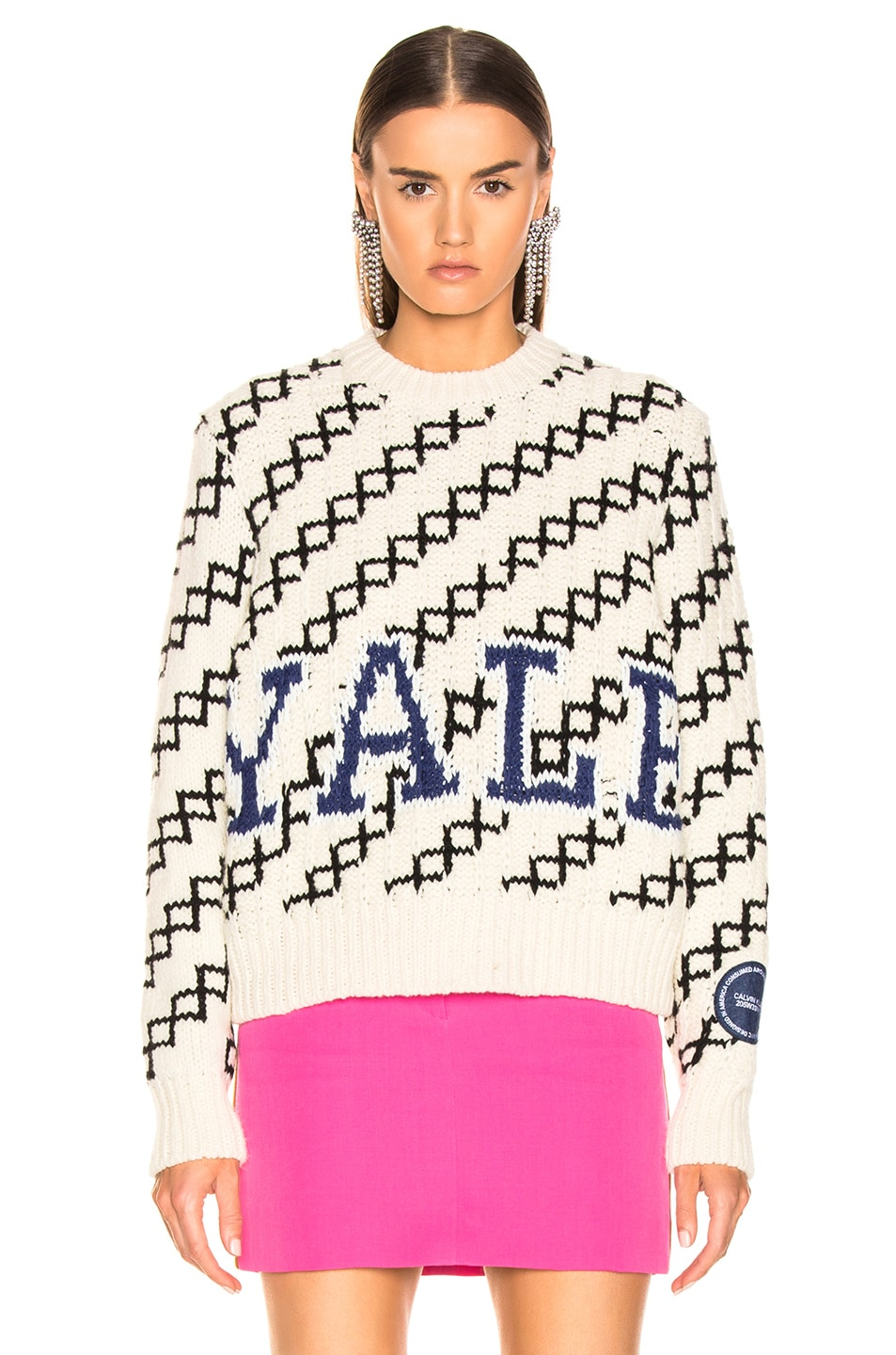 Image 2 of CALVIN KLEIN 205W39NYC University Sweater in Ecru & Black